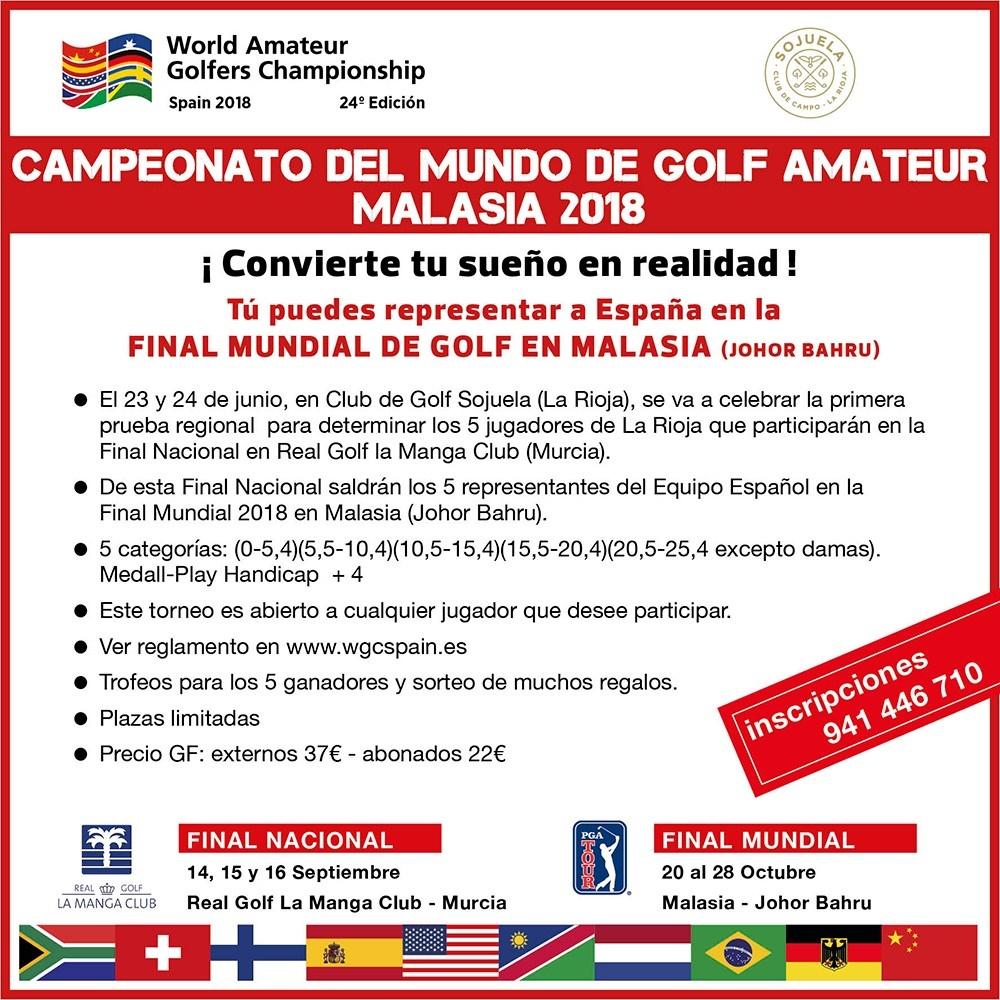 """Aplazada la prueba del Campeonato del Mundo de Golf Amateur """"Malasia 2018"""""""