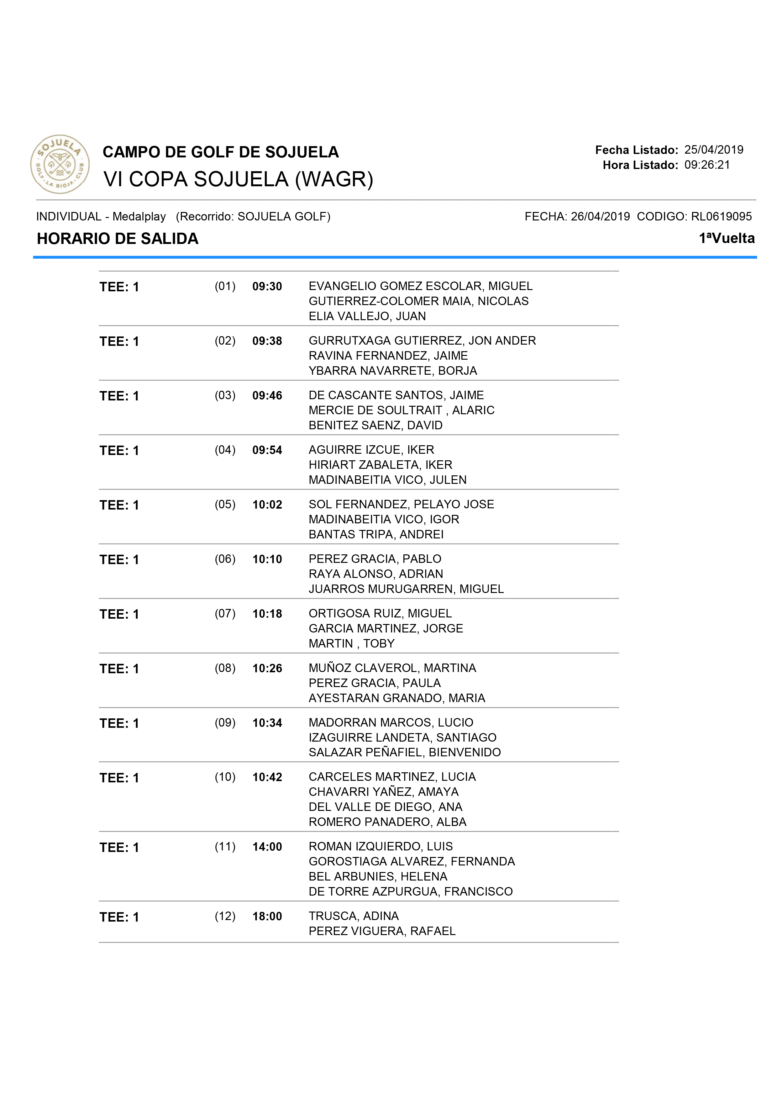 Horario de la primera jornada VI copa Club de Campo Sojuela